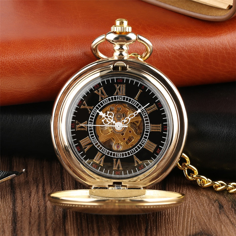 Golden Mechanical Pocket Watch Shield Design Hand Winding