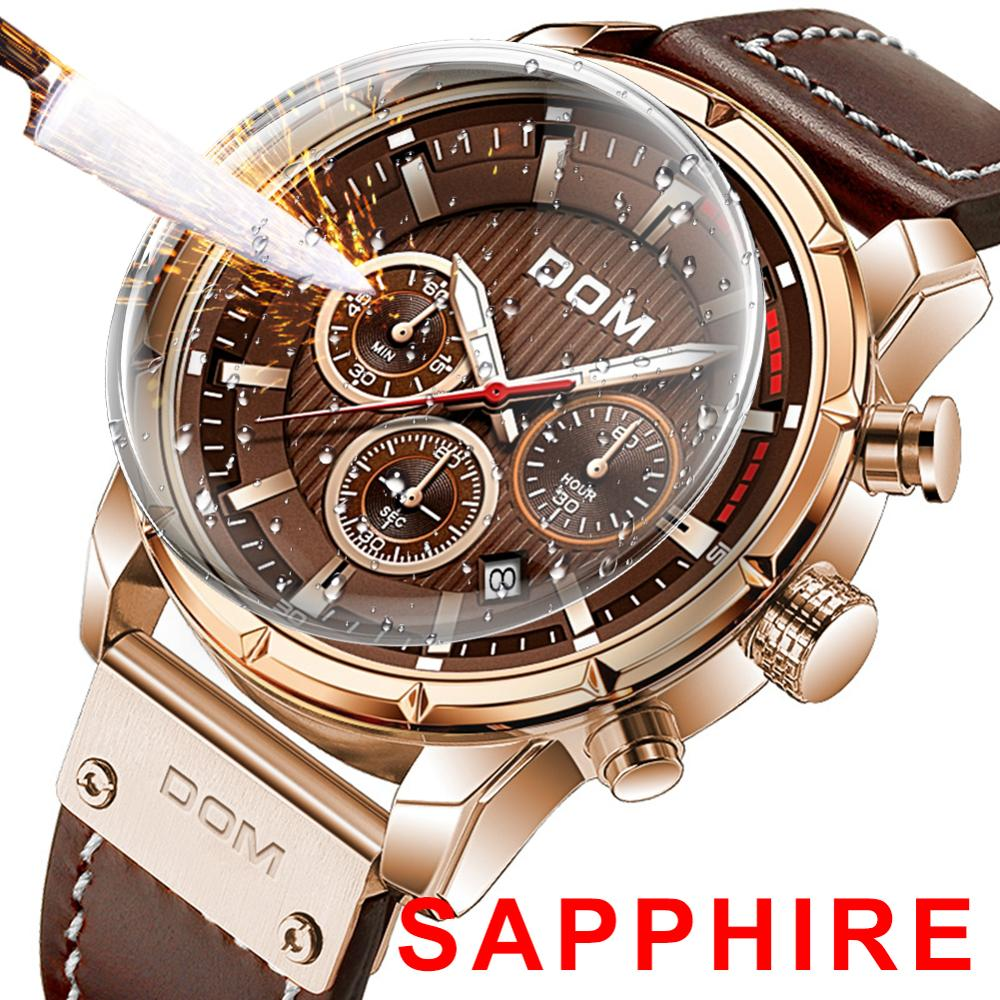 DOM Sapphire Sport Watches for Men Leather Wrist Watch