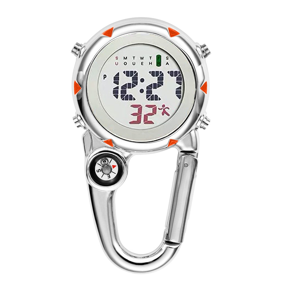 Digital Carabiner Clip Sport Hook Electronic Luminous Multi-function FOB Nurse Watch Outdoor Sport Watch