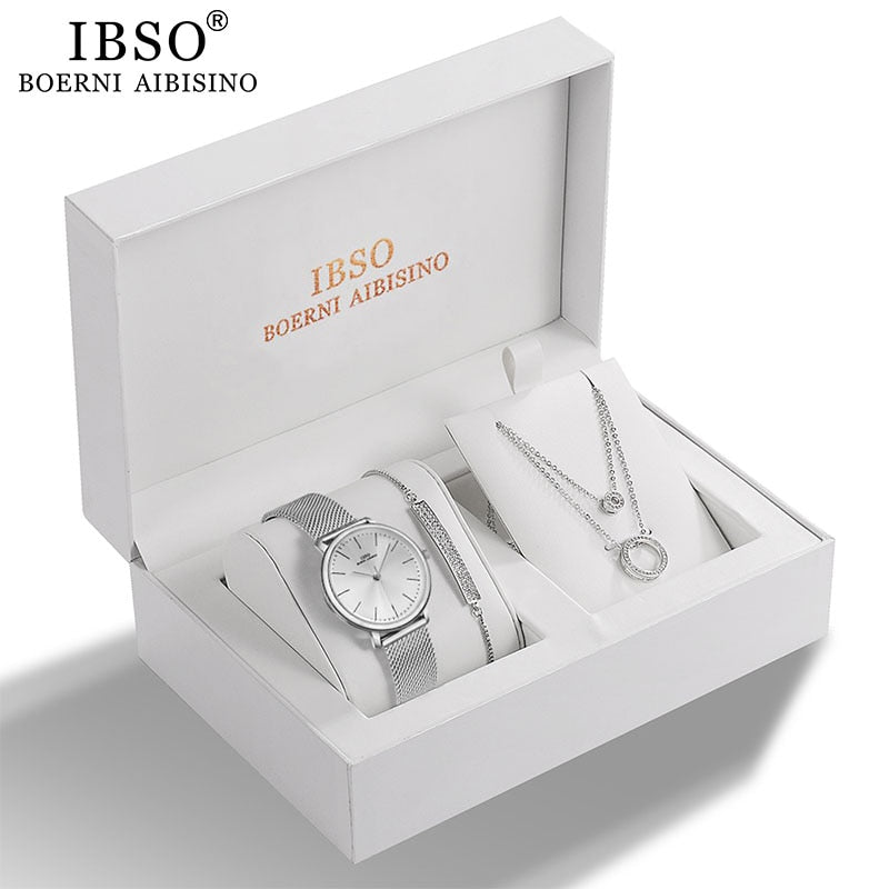 IBSO Women Quartz Watch Set with Crystal Design Bracelet Necklace