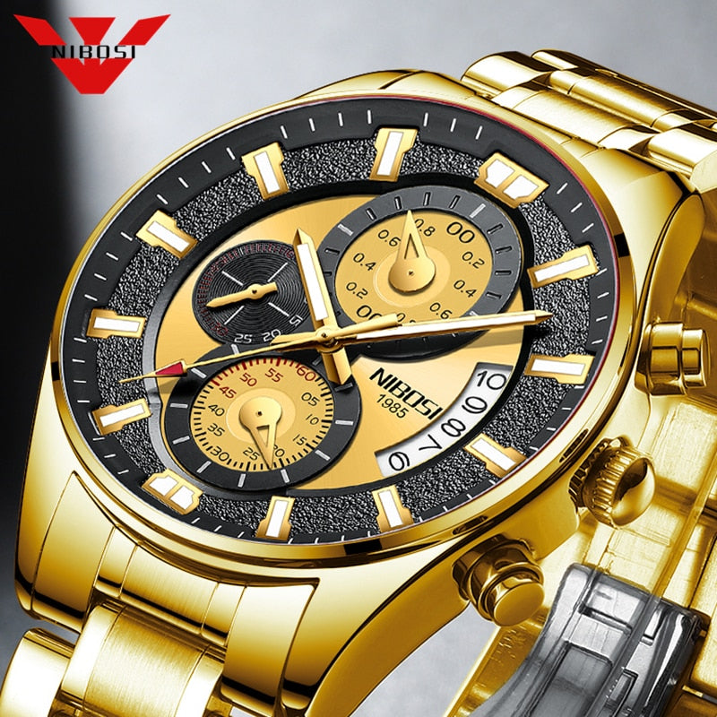 NIBOSI Fashion Mens Watches Gold Sports Waterproof