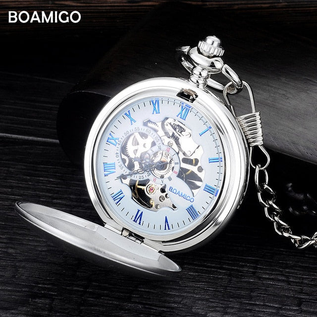 BOAMIGO FOB pocket watches mechanical hand wind skeleton watches silver