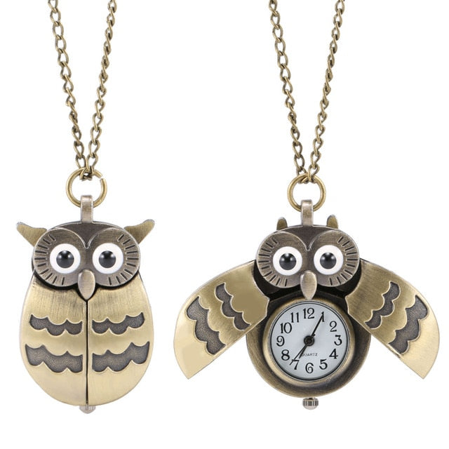 Fashion Vintage Men Women Pocket Watch Owl Shape