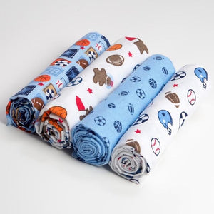 Pack of 4 Football baby swaddle blanket set
