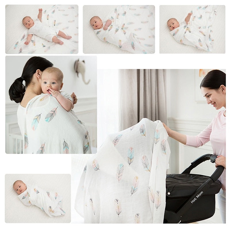 Pack of 4 Pink Blossom Baby Swaddle Blankets