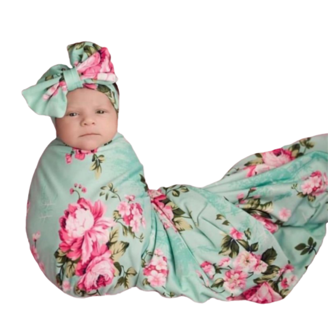Floral Organic cotton swaddle blanket with headband