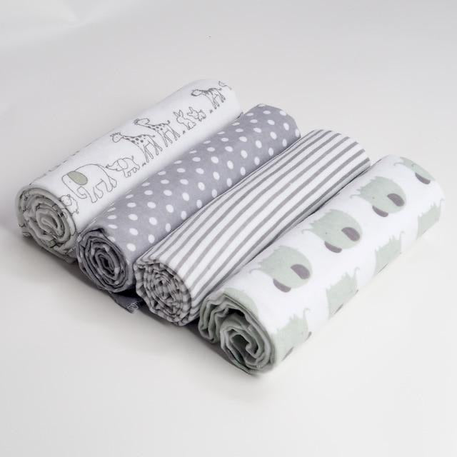 Pack of 4 Elephant baby swaddle blanket set