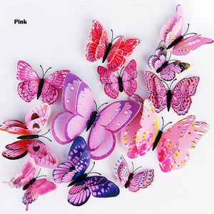 12Pcs Double layer 3D Butterfly Wall and refrigerator Sticker