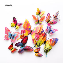 Load image into Gallery viewer, 12Pcs Double layer 3D Butterfly Wall and refrigerator Sticker