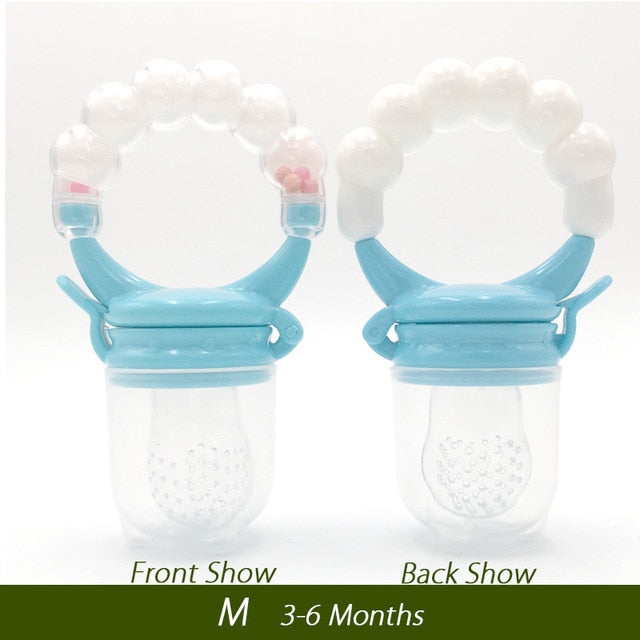 It is both a pacifier fruit holder, and teething toy. It can store fresh or frozen fruits, vegetables, ice chips, breast milk, and even medicine, and can also soothe baby