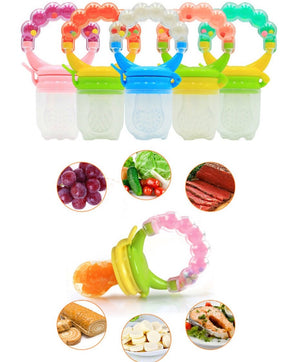2-IN-1 PURPOSE AND USE - You get more value for money as our product actually serves two purposes at once. It is both a pacifier fruit holder and teething toy. It can store fresh or frozen fruits, vegetables, ice chips, breast milk, and even medicine. The feeder can also soothe baby's teething discomfort by massaging the gums, which builds up the mouth muscle. Multiple problems solved at once by one simple product!