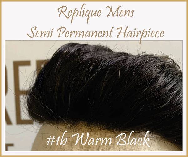 Mens Semi Permanent Hair Piece #1b Colour