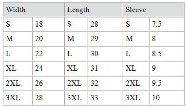 Alstyle Shirt Size Chart