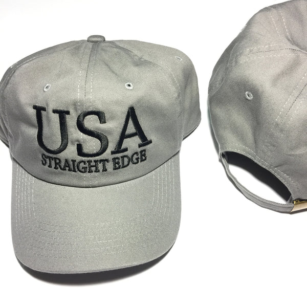 USA Straight Edge Grey Dad Hat ($10 Sale!)