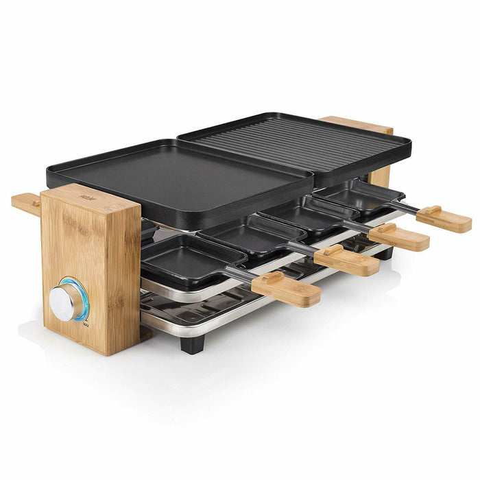 Princess 162910 Raclette Pure 8-UK, Bamboo, 1200 W, Bamboo & Black