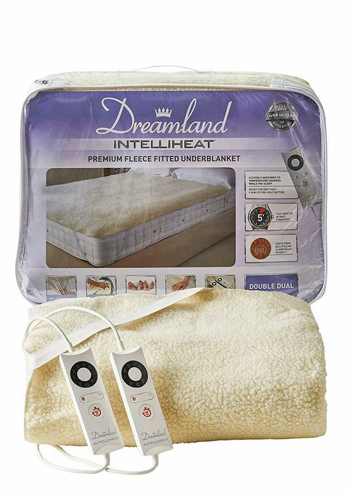 Dreamland 16297 Intelliheat Fitted Fleece Under Blanket with 2 Controls Double
