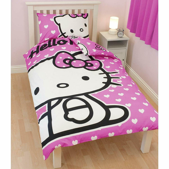 Hello Kitty Hearts Single Duvet Bed Set with Pillow Case