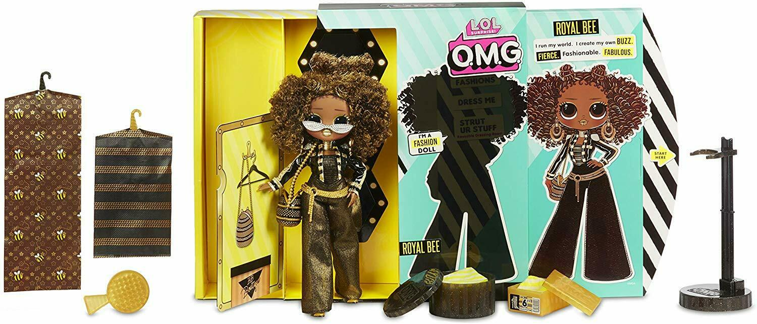 LOL Surprise 560555 L.O.L O.M.G. Royal Bee Fashion Doll with 20 Surprises