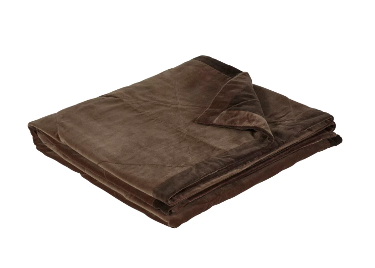 Oka Velvet Reversible Throw Mocha/Mole
