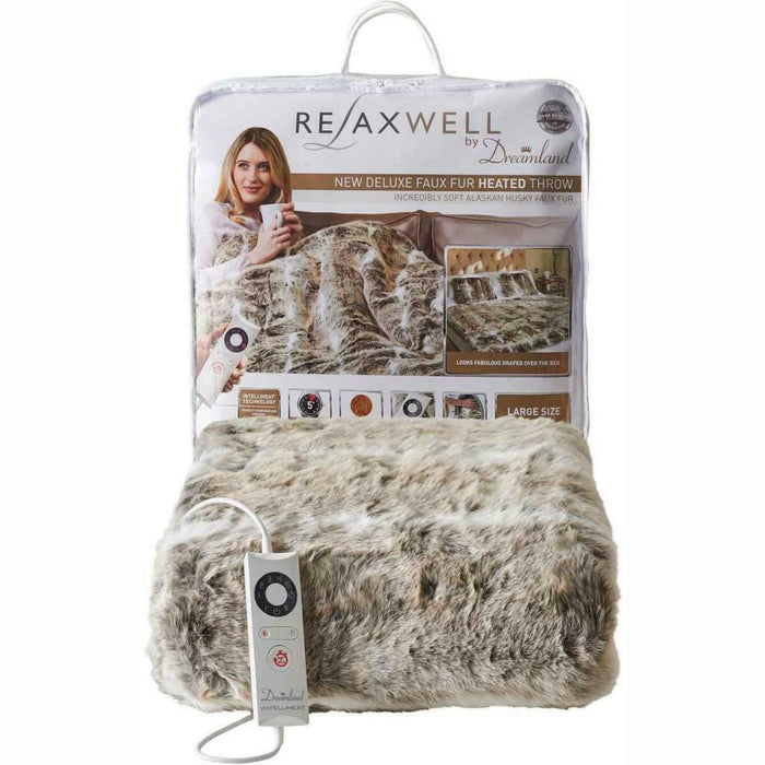 Dreamland Relaxwell 16465 Alaskan Husky Faux Fur Heated Throw