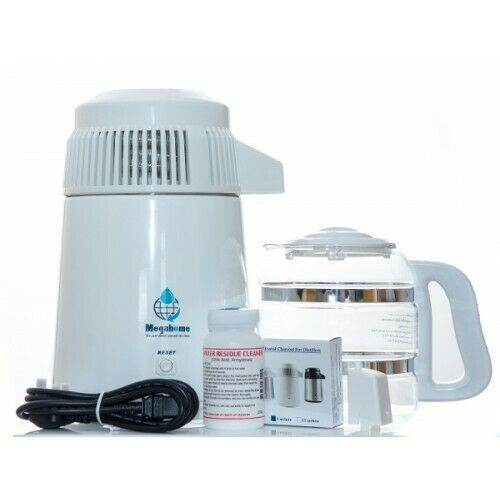 Megahome Deluxe Water Distiller With Glass Jug In White Multi UK EU Plug