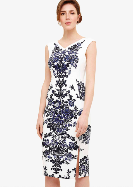 Phase Eight Whitney Placement Print Dress Navy/Ivory Size UK 12