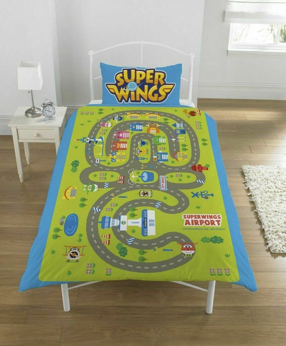 Super Wings Single Duvet Set - Airport Map on the Reverse