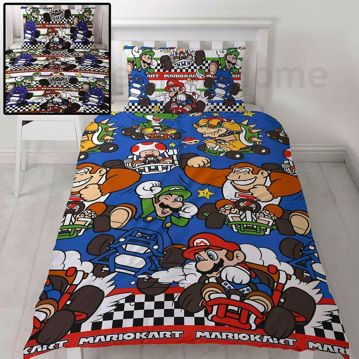 Nintendo Mario Gang Racer Single Duvet Quilt Cover Kids Bedding