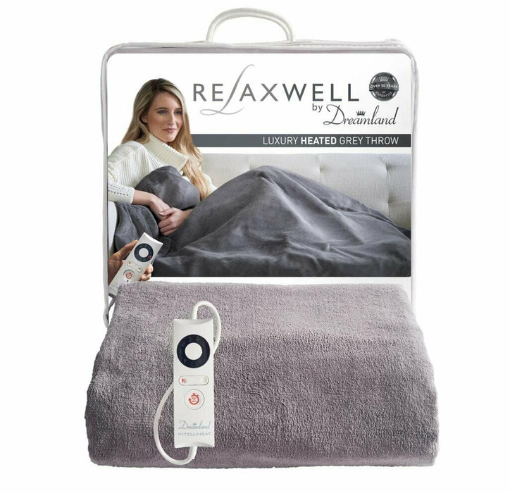 Relaxwell 16447 By Dreamland Luxury Heated Grey Throw 2020 Improved Model