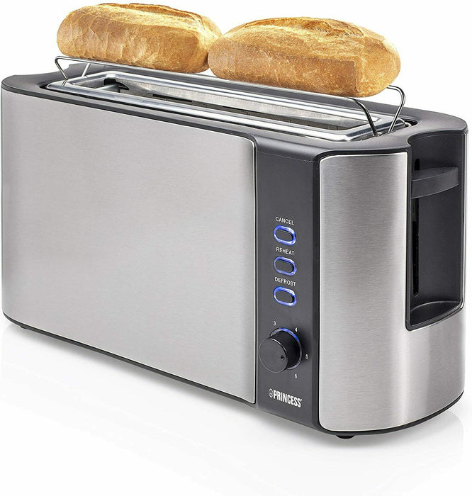 Princess 142353 Long Slot Toaster, 1000 W, Silver Stainless Steel