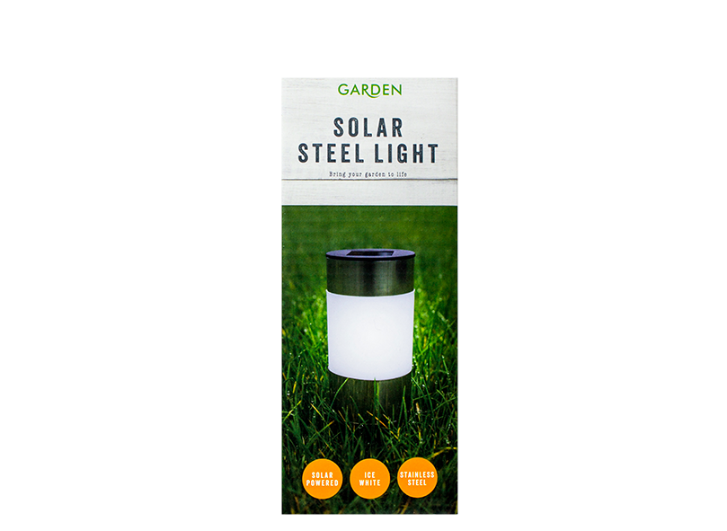 Garden Solar Steel Light - Ice White Light set of 6