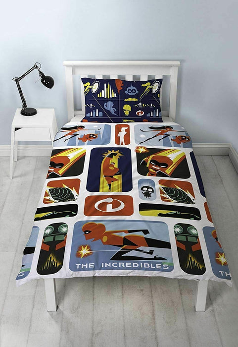 The Incredibles 2 'Retro' Rotary Single Bed Duvet Quilt Cover Set Brand New