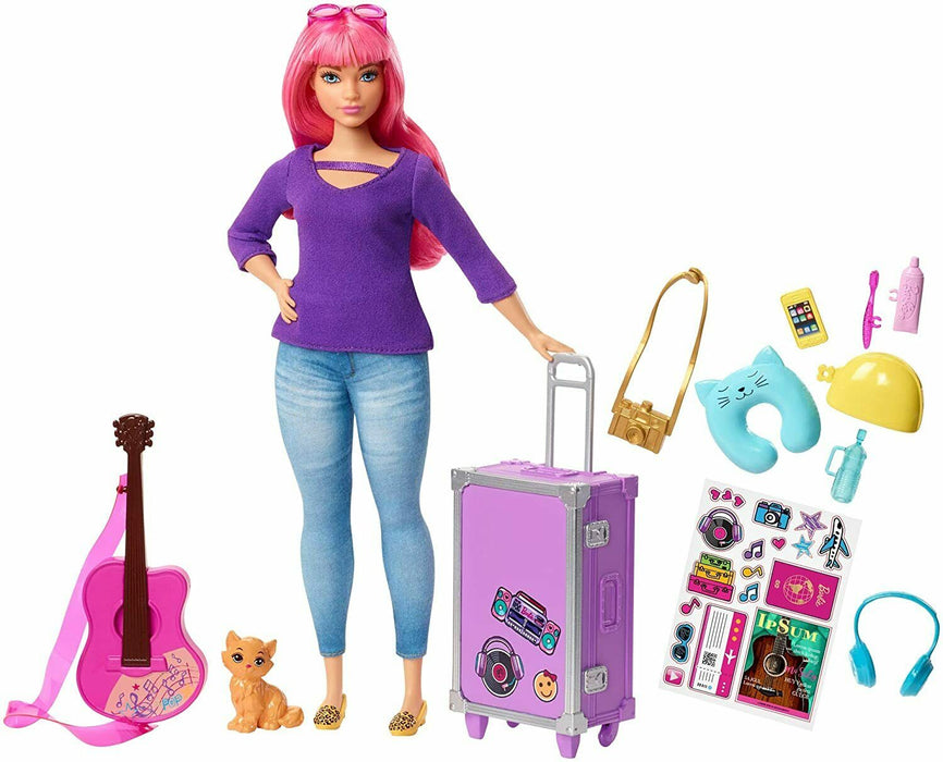 Barbie FWV26 Daisy Doll And Travel Set With Kitten Luggage, Guitar & Accessories