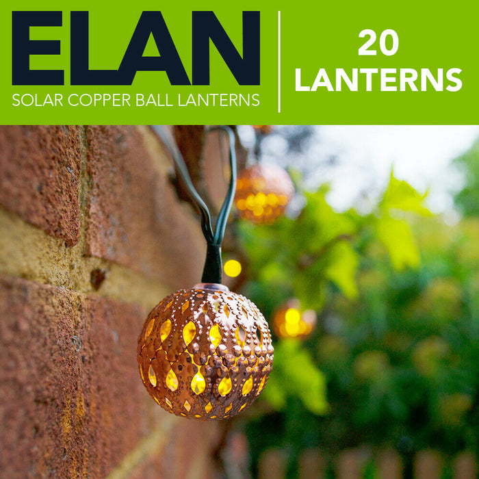 Elan Solar Copper Ball Lanterns - 20 LEDs By The Solar Centre