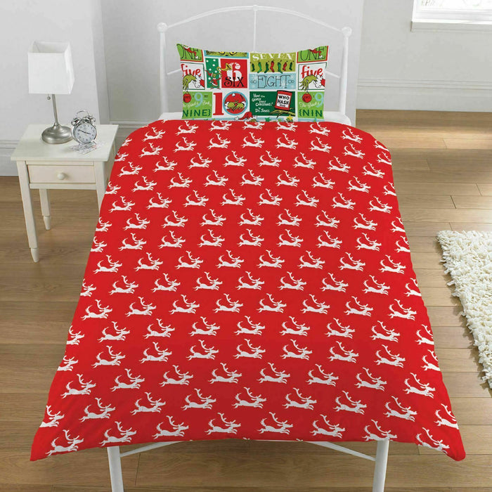 The Grinch 12 Days Of Christmas Single Duvet Cover Set Free Shipping