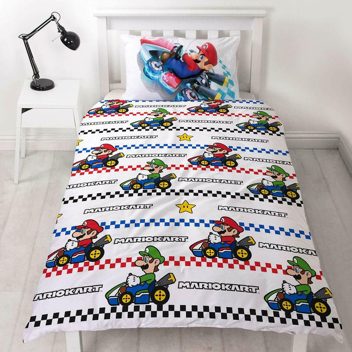 Super Mario Nintendo Kart Single Duvet Cover Officially Licensed Reversible