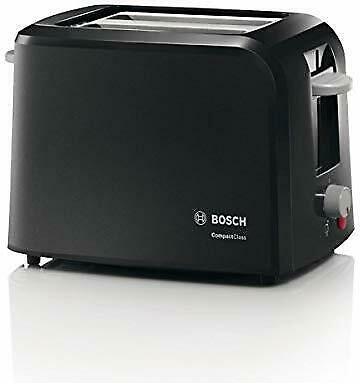 Bosch TAT3A0133G 2-Slice Toaster Black 980W With Variable Browning Control