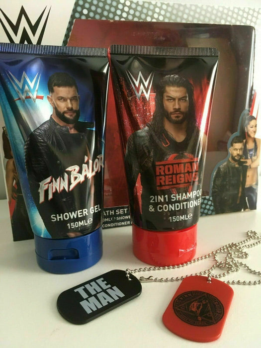 WWE Roman Reigns & Finn Balor Bath Set, Shower Gel, Conditioner, 2X Dog Tags