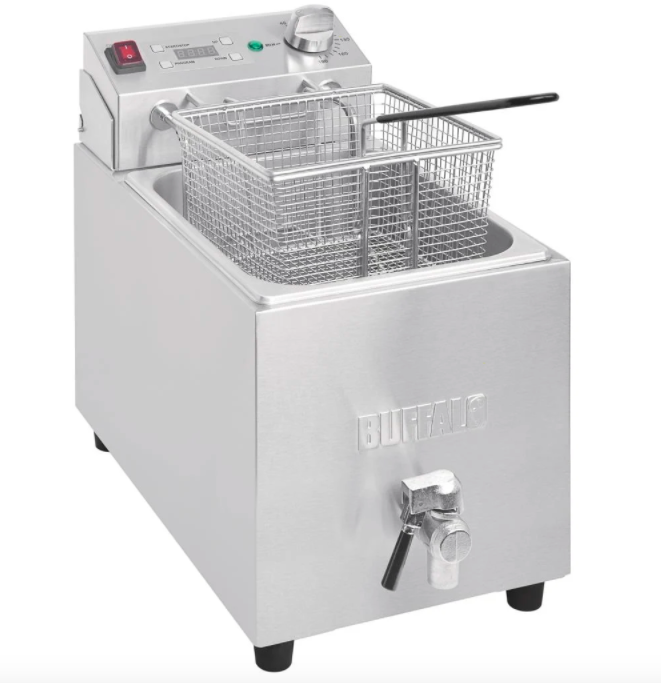 Buffalo Single Tank Single Basket 8Ltr Countertop Fryer with Timer 2.9kW - FC374