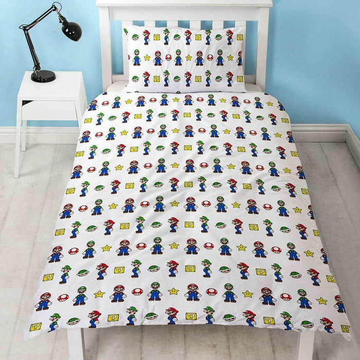 Official Super Mario Single Duvet Cover Design Reversible Two Sided