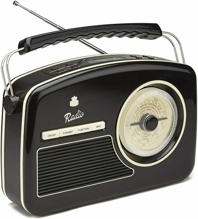 GPO Rydell Retro Portable FM and DAB+ Radio With Retro Dial Face Black