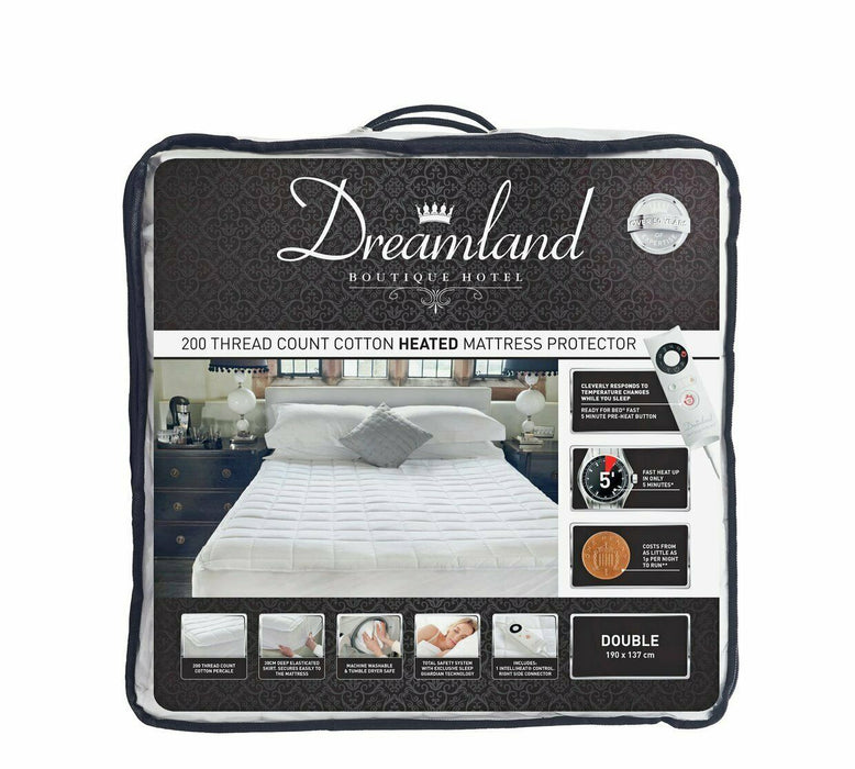 Dreamland 16440 Boutique Heated Mattress Protector Double Dual Control