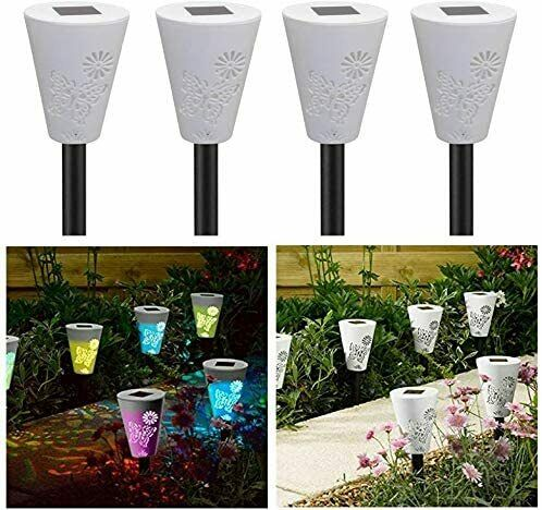 X4 Colour Changing Butterfly Silhouette Stake Lawn Light Pathway Garden Lamps