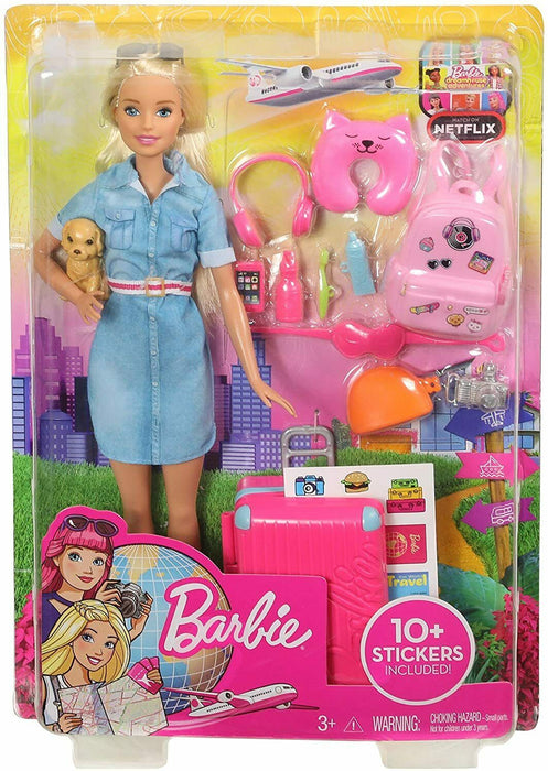 Barbie FWV25 Doll And Travel Set With Puppy, Luggage And 10+ Accessories