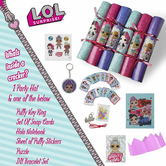 LOL Surprise 6 Fun Christmas Crackers Novelty Gifts Included Party