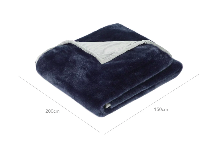 Oka Faux Fur Throw - Midnight Blue 200cm X 150cm