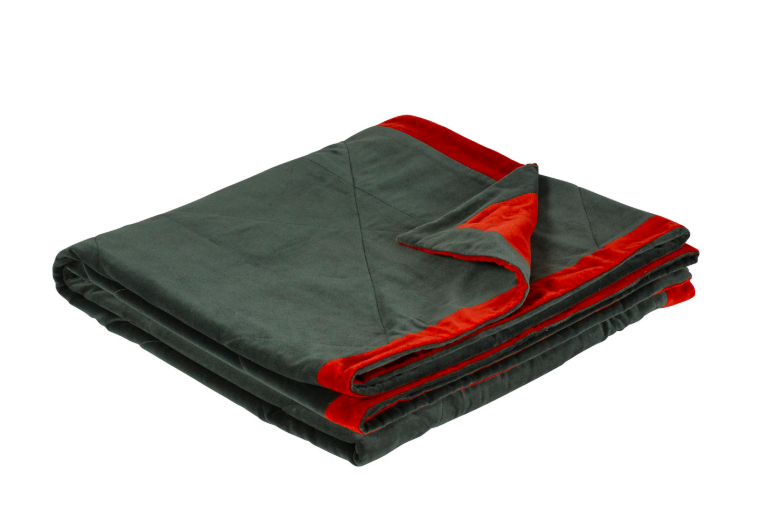 Oka Velvet Reversible Throw - Forest Green/Persimmon 170cm X 130cm