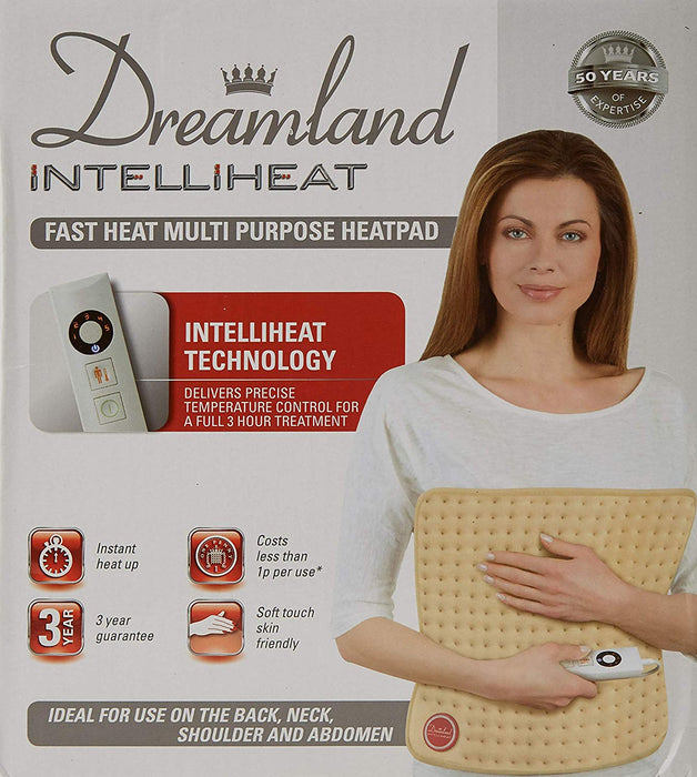 Dreamland Intelliheat, Soft Touch Skin Friendly, Fast Heat Multi Purpose Electric Heat Pad