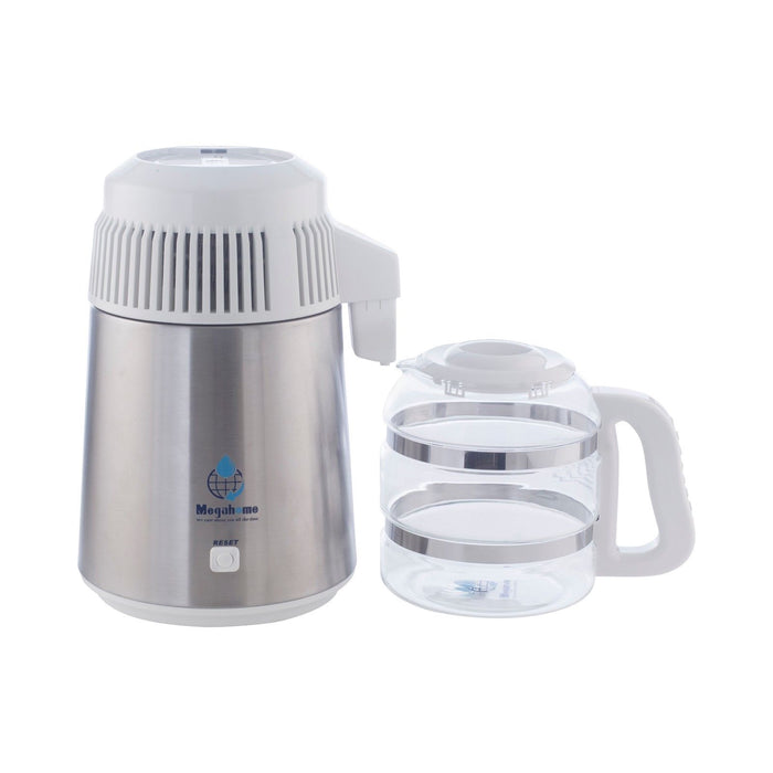 Megahome Deluxe Water Distiller With Glass Jug In White UK 3 Pin Plug