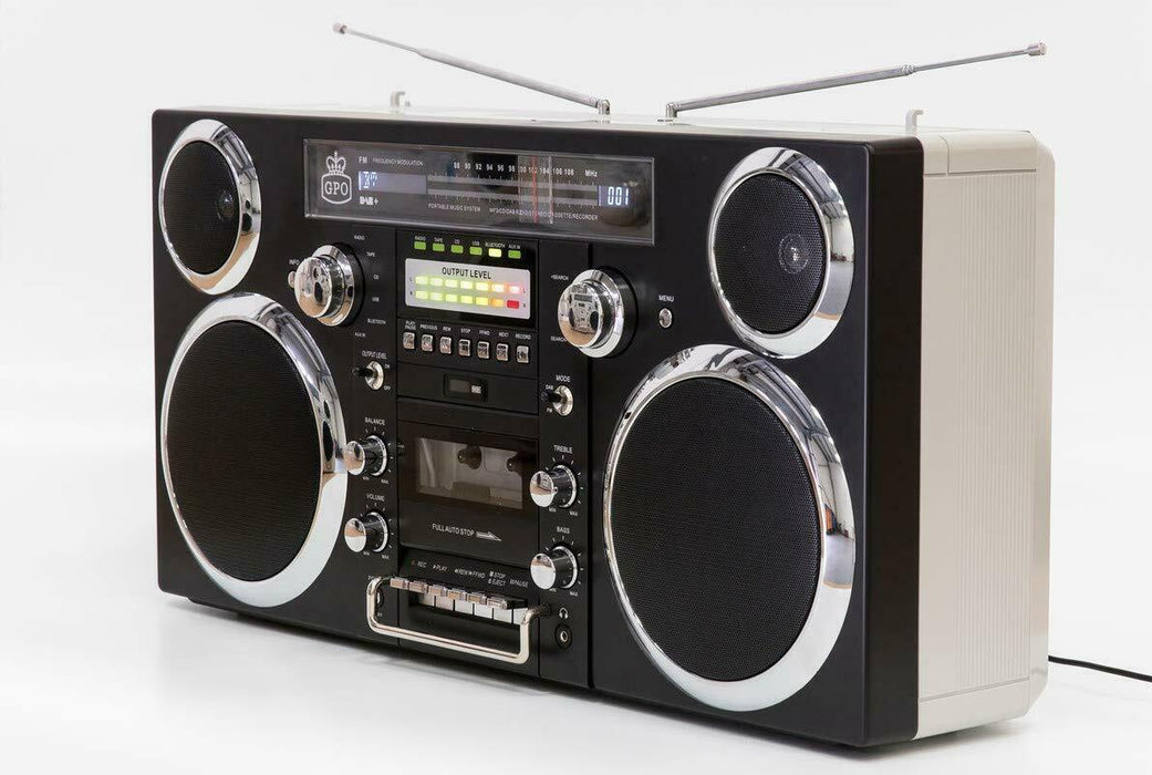 Portable Retro Ghetto Blaster With Bluetooth DAB, Cassette, FM, CD And Aux Black